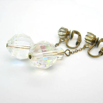 Aurora Borealis Crystal Earrings. Faceted AB Glass Bead Dangles. Prism Ball Drops. Clip Ons. Fine Chain. Vintage 1950s Fashion Jewelry