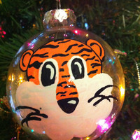 Aubie Tiger Auburn Glass Clear Christmas Ornament Painted