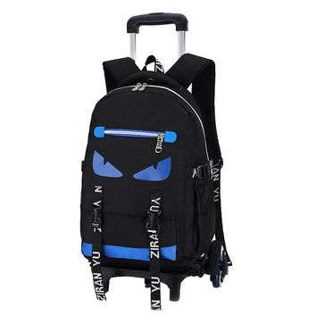 High-capacity Student Shoulder Backpack Rolling Luggage Children Trolley Suitcases Wheel Cabin Travel Duffle School Bag