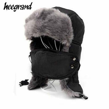 2015 Super Warm Winter Hats With Masques For Men Hot Fur Winter Cap With Ear Flaps Waterproof Cycling Winter Hats PMA029
