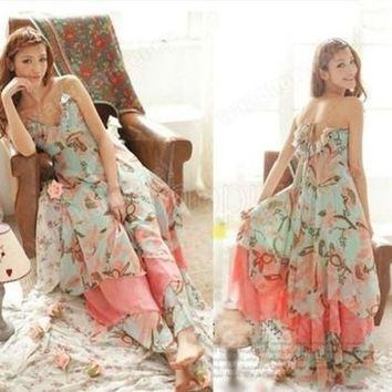 Summer Women Floral Print Chiffon Long Dresses V-Neck Beach Boho Maxi Sundress Spaghetti Straps