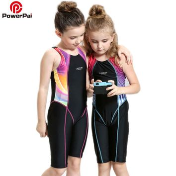 PowerPai Competitive Student Sport Swim Suit Girl Swimwear Baby Children One Piece Swimsuit for kids Trunks Patchwork black XXS