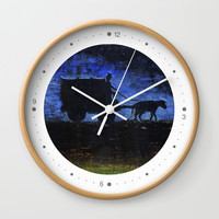Carriage at sunset Wall Clock by Josep Mestres