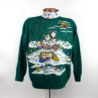 Ugly Christmas Sweater Vintage Sweatshirt Cats Scene Party Xmas Tacky Holiday