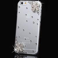 iPhone 6 Case,iPhone 6S Case,Hundromi 3d Handmade Clear Bling Flower Crystal Rhinestone Diamond Skin Case Cover for iPhone 6/6s 4.7 inch Screen - Crystal iPhone 6 6s Case