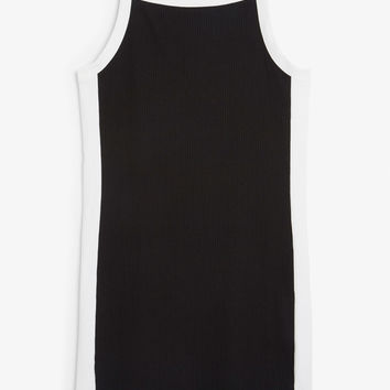 Ribbed dress - Black/white - Dresses - Monki DK