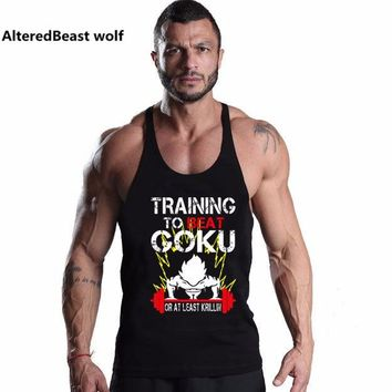2018 Men brand Tank Tops Bodybuilding Men Vest O-Neck Goku print Tank Top Men Sleeveless Shirts tank Muscle Men Fitness tank top
