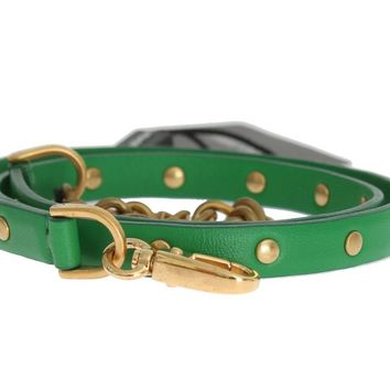 Green Leather Chain Gold Studded Belt