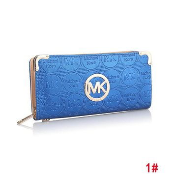 MK Fashionable Women Leather Zipper Purse Wallet Blue