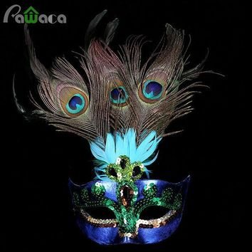ESBONHS Party Mask Woman Female Masquerade Masks Luxury Peacock Feathers Half Face Mask Party Cosplay Costume Halloween Venetian Mask