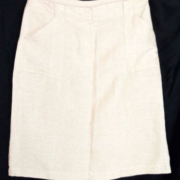 New York & Co Khaki Skirt Sz 10 Linen Blend Pockets