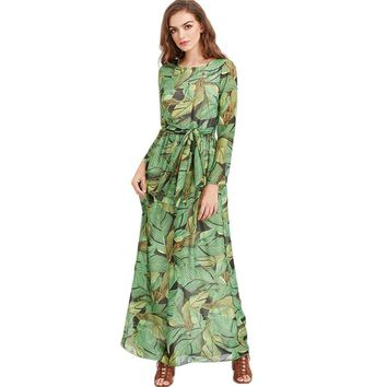 2018 Vestidos Verano Summer Chiffon Dress Women Floor-length Floral Print Long Sleeve Maxi Dresses Plus Size  BOHO Beach Dresses