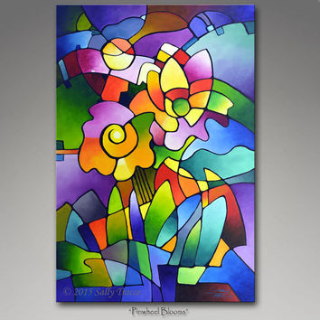 Original Abstract Acrylic Floral Geometric Painting by Sally Trace, cubist, cubism, geometry, blooms, garden, flowers, colorful Sally Trace
