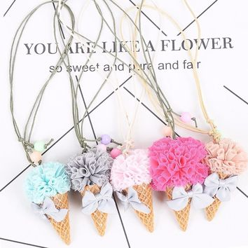 Children's Lovely Imitation Food Three-dimensional Ice Cream Cones Pendant Necklace Collier Femme For Kids Birthday Gifts