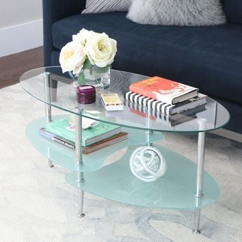 Frosted Glass 38-inch Coffee Table | Overstock.com Shopping - The Best Deals on Coffee, Sofa & End Tables