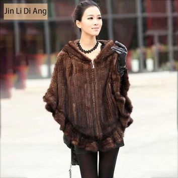 Jin Li Di Ang 2017 Women Real Knitted Mink Fur Jacket with Hood Natural Genuine Leather Brown Black Mink Fur Hooded Coat Poncho