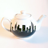 NYC Teapot - Handpainted, New York, Skyline, Manhattan, Ceramic Tea Pot