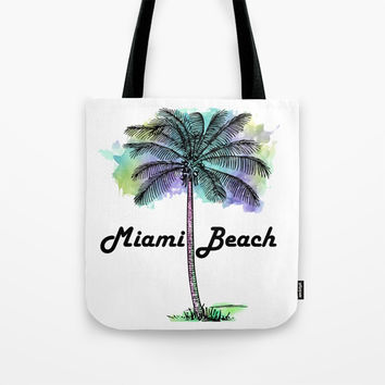 Watercolor Miami Beach Florida Tote Bag by ARTPICS