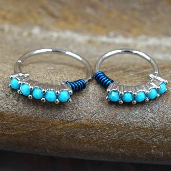 Silver Nose Hoop with Turquoise Gems