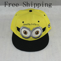 2016 Baseball Cap Children Gorras Yellow Cartoon Casquette God Steal Dads Film Minions Canvas Flat Snapback Hip Hop Hat