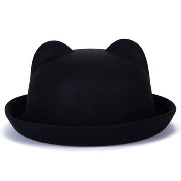 Women Fashion Vintage Wool Horn Parent-Child Bowler Fedora Hats Unisex Derby Cat Ear Cap