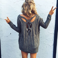V-Neck Long Sleeve Backless Top Sweater