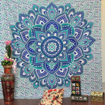 Blue Indian Mandala Tapestry
