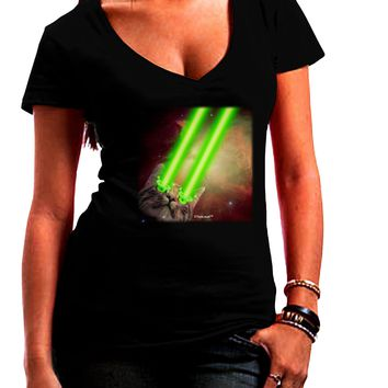 Laser Eyes Cat in Space Design Juniors V-Neck Dark T-Shirt by TooLoud