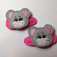 Adorable Light Grey Mice Felt Snap Hair Clip Barrettes Set of 2  $6.00