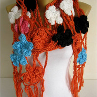 NEW-Crochet shawl scarf, winter Neck Warmer, orange, women scarves, long cozy scarf shawl-Fashion accessories-christmas gift for her-scarves