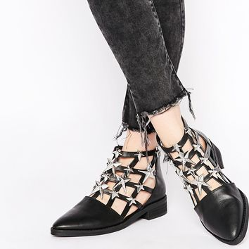 Eeight Nelly Cut Out Star Embellished Ankle Boots