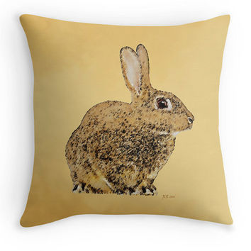 Golden Rabbit Throw Pillow, Wildlife Scatter Cushion, Country Garden Decor, Cushion Cover