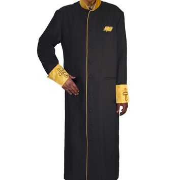 Regal Robes 9091 Cross Embroidered Satin Cuffs and Collar Men's Cassock Robe