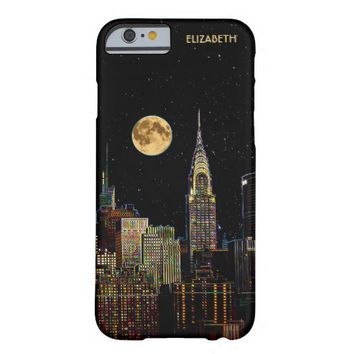 New York Skyline At Night With Full Moon Barely There iPhone 6 Case