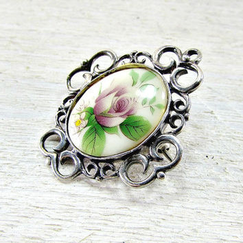 Vintage Rose Cameo Brooch Pin, Sterling Silver Filigree Brooch Pin, 1970s Romantic Jewelry, Mothers Day, Gift for Mom Grandma, Something Old