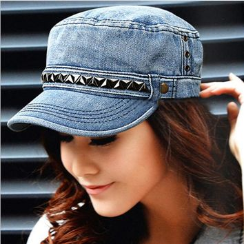 Unisex Fashion Casual Rivet Duck Tongue Cap Flat Top Cap Couple Denim Hat