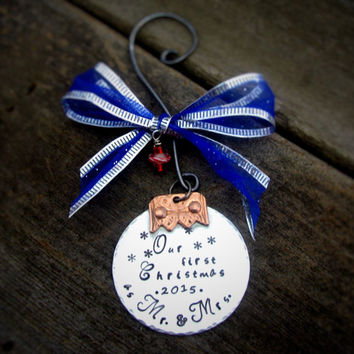 Personalized Ornament Hand Stamped First Christmas as Mr and Mrs Newlywed Name Gift Ornament Christmas Ornament Gift