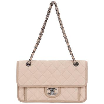 Chanel Beige Caviar Trimmed Jumbo Flap Bag