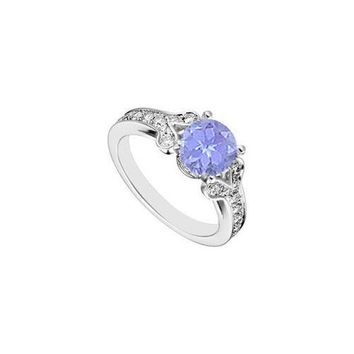14K White Gold Created Tanzanite and  Cubic Zirconia Engagement Ring 4.00 CT TGW