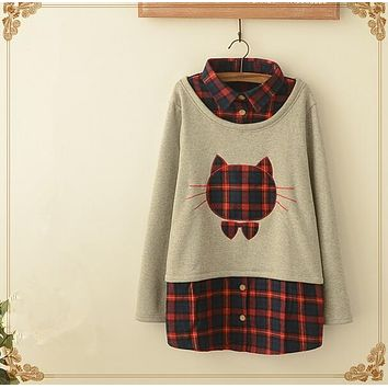 Japanese Mori girl plus velvet hoodies casual plaid owl big yards bottoming fake two tops fall and winter clothes T689