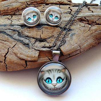 Alice in wonderland cheshire cat pendant necklace jewelry keychain, cheshire cat earrings, cheshire cat character, cat smile art print
