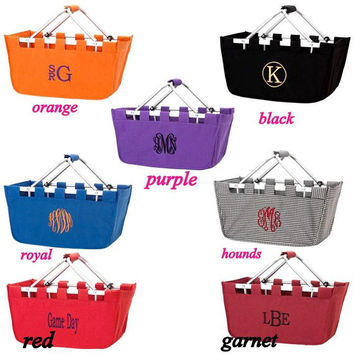 Monogrammed Market Basket, Personalized Market Tote, Fold Up Basket, Collapsible Basket, Storage Basket, Monogram Market, Large Basket