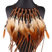 Brown Faded Faux Feather Bar And Eyelet Detail Collar Necklace