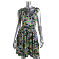 Calvin Klein Womens Petites Printed Sleeveless Wear to Work Dress