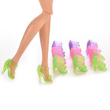 10Pairs High Heel Transparent Shoes For Barbie Fashionable  Accessories ModernHU