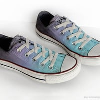 Ombré dip dye Converse, turquoise, topaz purple, grey, low tops, tie dye sneakers, upcycled vtg shoes, size EU 36.5 (UK 4, us wo's 6, men 4)