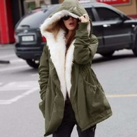 Fashion Fur Winter Coat With Hoodie