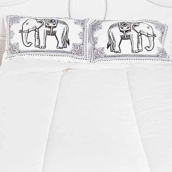 Eastern Elephant Pillowcase - Set Of 2- Black & White One