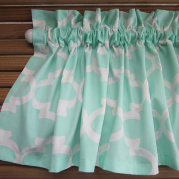"Mint Green and White Fynn Valance - 50"" x 16"" - Premier Prints Fynn Home Decor Fabric"