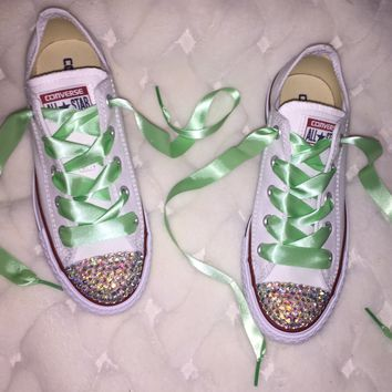 Chuck Taylor Converse AB Crystal Bedazzled Fronts Mint Green Laces
